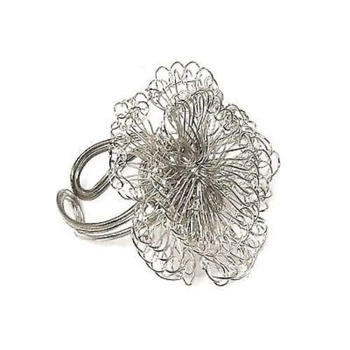 Dazzling Blossom Ring - Silvertone Handmade and Fair Trade