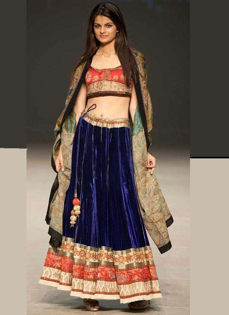 Velvet Blue and Red Embroidered #Lehenga
