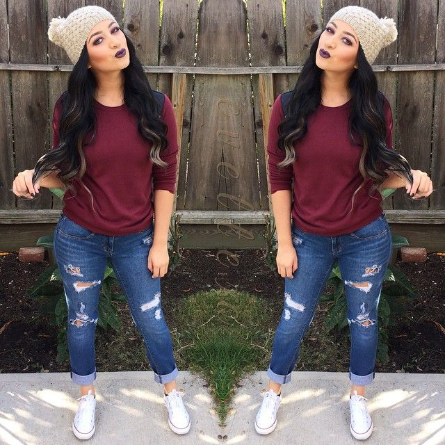 ♥@nn@b£|¥♥ burgundy shirt with ripped up jeans and chucks perfect for running around with the kids at the park