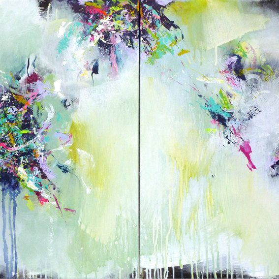 2 parts Original abstract painting, modern art, acrylic painting, paintings, lilac turquoise lemon green white painting, contemporary art