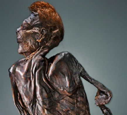 Clonycavan man bog body. He was recovered from a bog in Co. Meath and only his upper torso and head survived. The remains were radiocarbon dated to between 392 BC and 201 BC and, unusually, his hair was spiked with pine resin (a very early form of hair gel). He had been disembowelled and struck three times across the head with axe and once across the body.