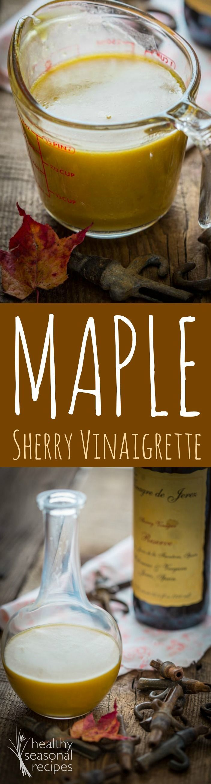 Simple salad dressing recipe made with sherry vinegar and maple syrup for a new favorite vinaigrette.