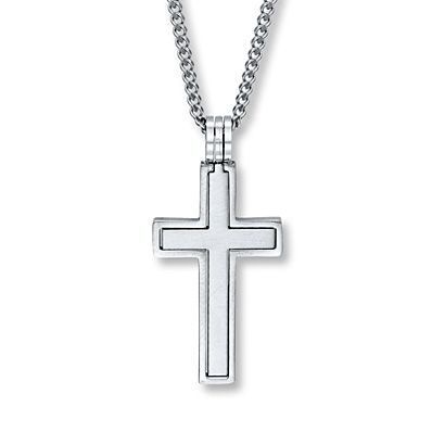 Mens Cross Necklace Stainless Steel 24-inch Length for T