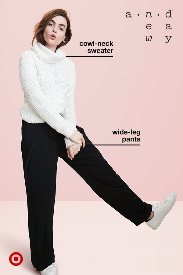 Ready to look cozy and comfy but still polished? This outfit from A New Day is for you. A soft sweater that's warm but not too bulky? Check. Wide-leg pants that are relaxed but flattering? Check. Cute white sneakers? Check. It's truly a wear-anywhere look.