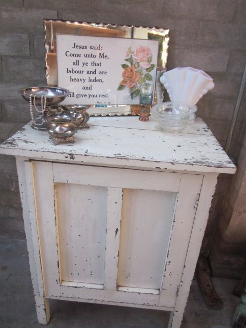 Easter inspired vintage styling with rustic cupboard, religious print and silver ware.  For sale and styling ideas: https://www.facebook.com/744861835533003/photos/pcb.755748457777674/755747677777752/?type=1&theater