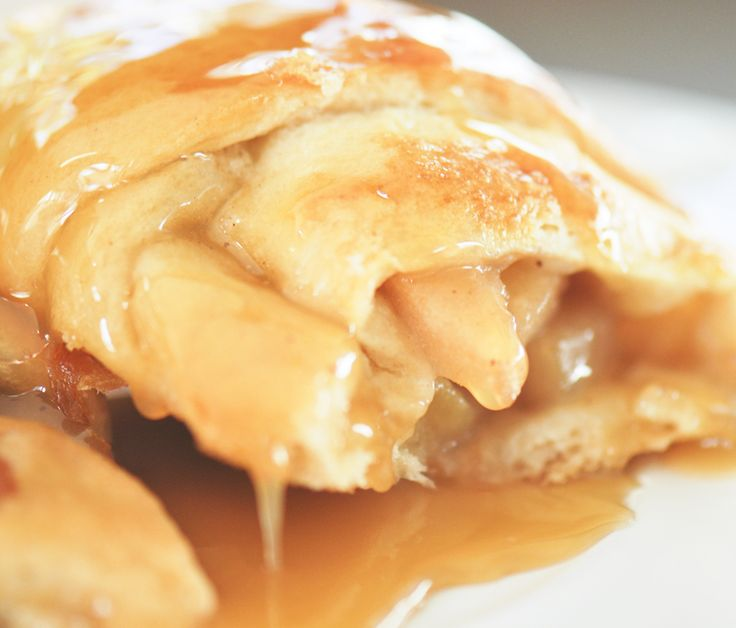 Apple Pie Crescents. This recipe only has 3 ingredients: apple pie filling, caramel sauce, and a tube of crescent rolls.