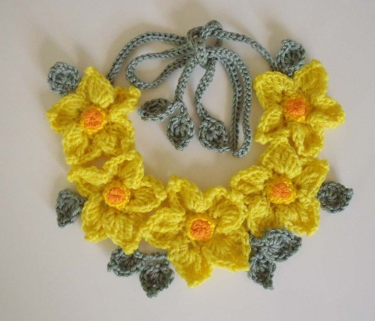 PDF Pattern Free form Crochet necklace Yellow by FiBreRomance