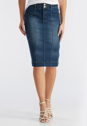Cato Fashions Seamed Denim Pencil Skirt Plus CatoFashions