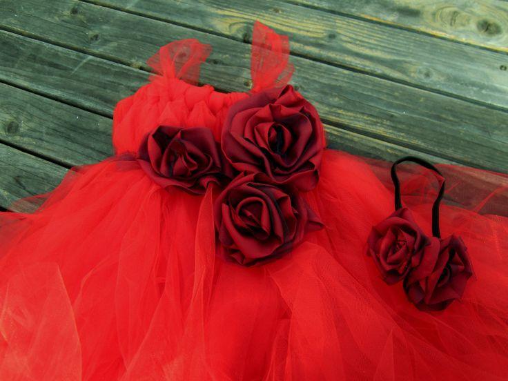 Red flower girl tutu dress red tutu dress by CuddleBlissBoutique, $49.99
