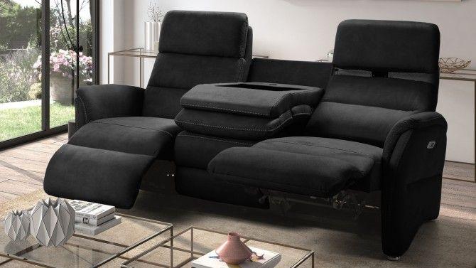Canape 3 Places Relax Electrique Tissu Nubuck Cuir Adem Gdegdesign Canape 3 Places Canape Relax Canape En Bois