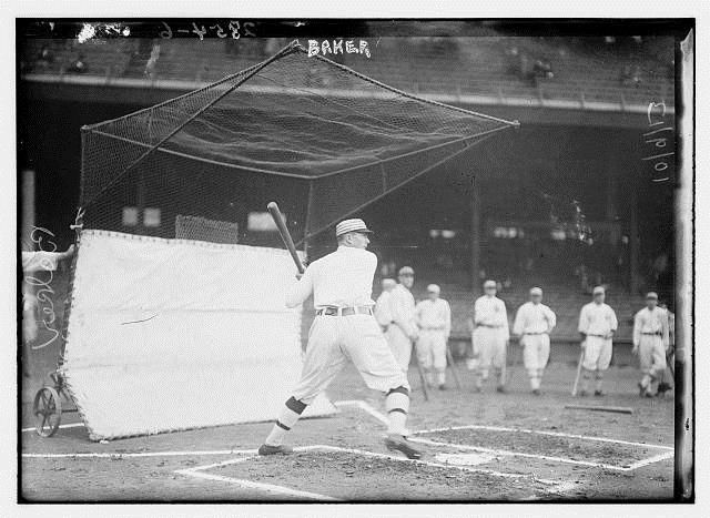 October 8, 1913 at Shibe Park: Home Run Baker takes batting practice prior to Game 2 of the World Series against the Giants. (Giants 3 - Athletics 0 in 10 innings)