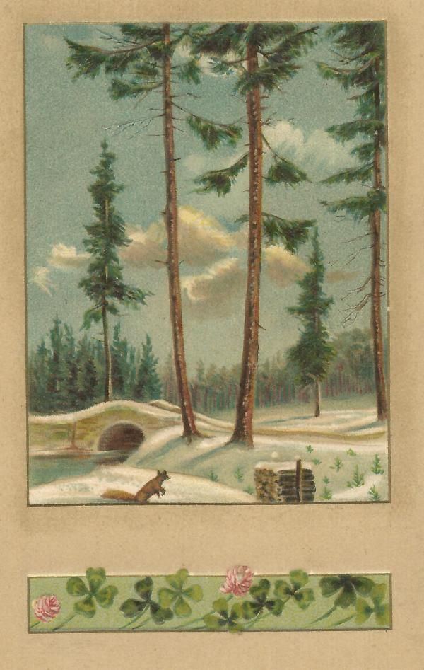 Christmas Winter Snowy Scene Four Leaf Clovers Vintage Postcard