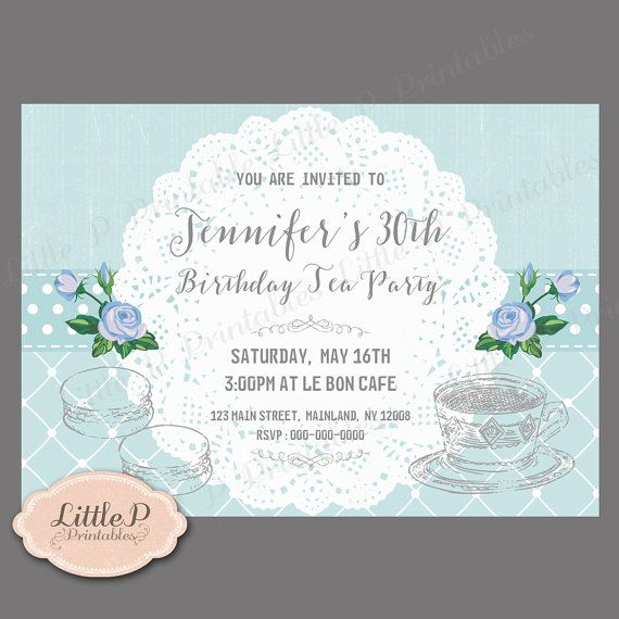 Tea Party Invitation. Afternoon Tea Party. by littlePprintables