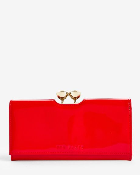 Leather crystal bobble matinee - Mid Red | Wallets | Ted Baker