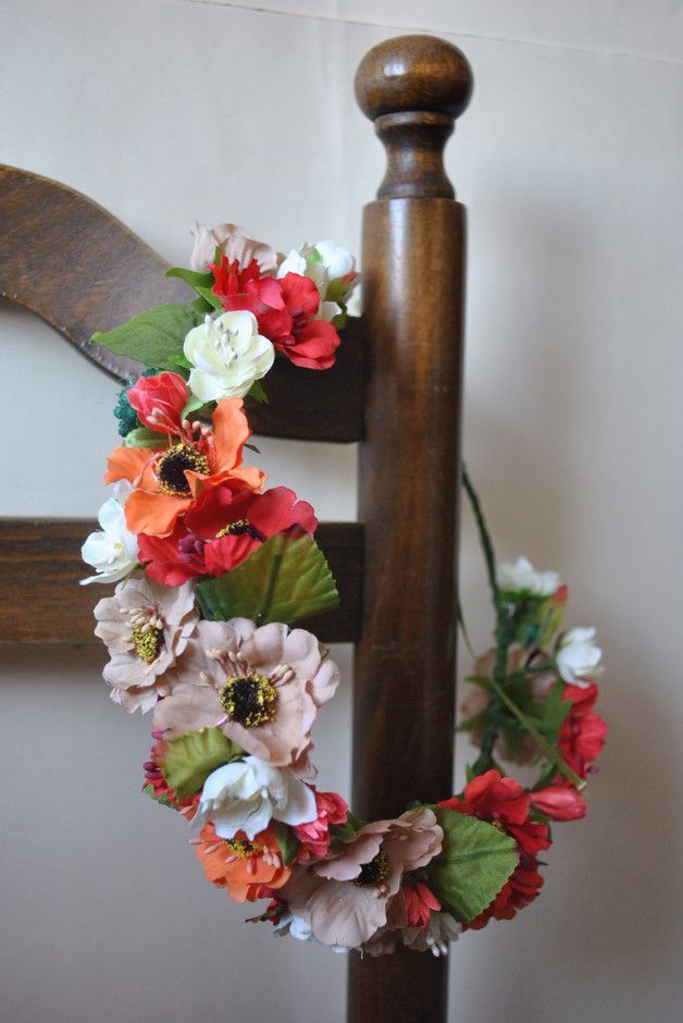 Accessories made by hand. Size is adjustable. The crown is open-ended and can be tied on the back with a ribbon.  Materials: florist wire,  floral tape, fabric flowers.  This item is ready to be...
