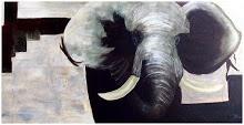 AQUARELLEN - OLIE- ACRYL EN FOTOGRAFIE VAN JOKE: Olifant 140 x 60 cm Acryl op doek