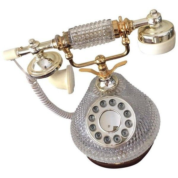 Vintage Crystal & Gold Telephone (230 BAM) ❤ liked on Polyvore featuring accessories, tech accessories and phones