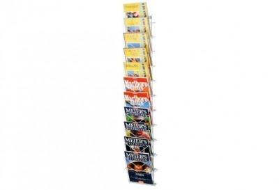 Wandhaltermagazin für Prospekte und Zeitschriften mit 11 Fächern aus kunststoffbeschichtetem Draht. http://www.starexpo.de/prospekthalter/wandprospekthalter/wandprospekthalter-classic-11-faecher/