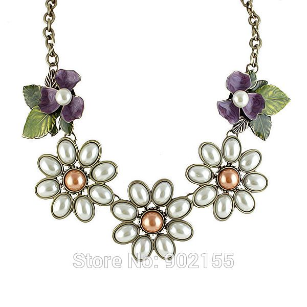 2014 New Costume Jewelry Fashion Simulated Pearl  Flower Collar Necklace For Women-in Choker Necklaces from Jewelry on Aliexpress.com   Alibaba Group
