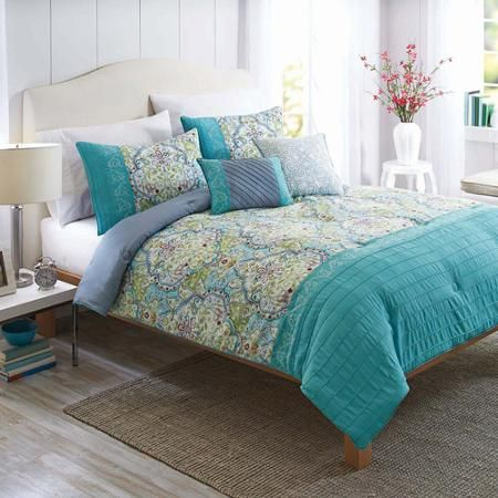 Better Homes And Gardens Watercolor Damask 5 Piece Bedding Comforter Set