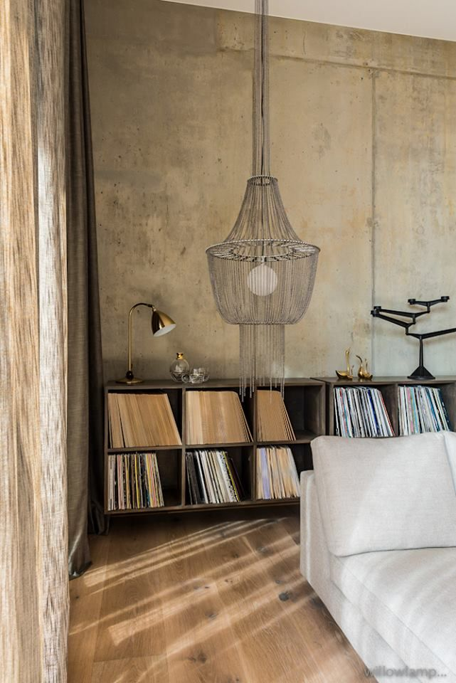 Suspended from the ceiling, the willowlamp Lantern in Chrome is an elegant addition to this minimalist inspired room design. http://bit.ly/1OGuRtg #willowlamp #lighting #decor