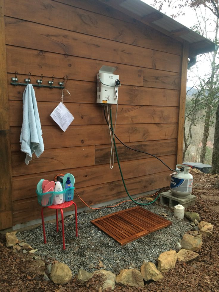 Outdoor Shower At The Mountain Cabin Eccotemp L5 Tankless