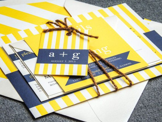 Striped Wedding Invitations, Navy Blue and Yellow, Seaside, Nautical Invitations, Preppy Chic - Flat Panel, No Accent Layer, v3 - SAMPLE