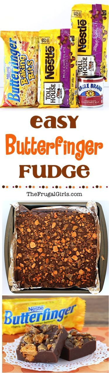 Butterfinger Fudge Recipe! This ridiculously EASY 3 ingredient Fudge is over the top crazy delicious!! This fudge is the perfect addition to parties and holiday dessert tables... or surprise your friends and neighbors with a little plate of deliciousness!   TheFrugalGirls.com