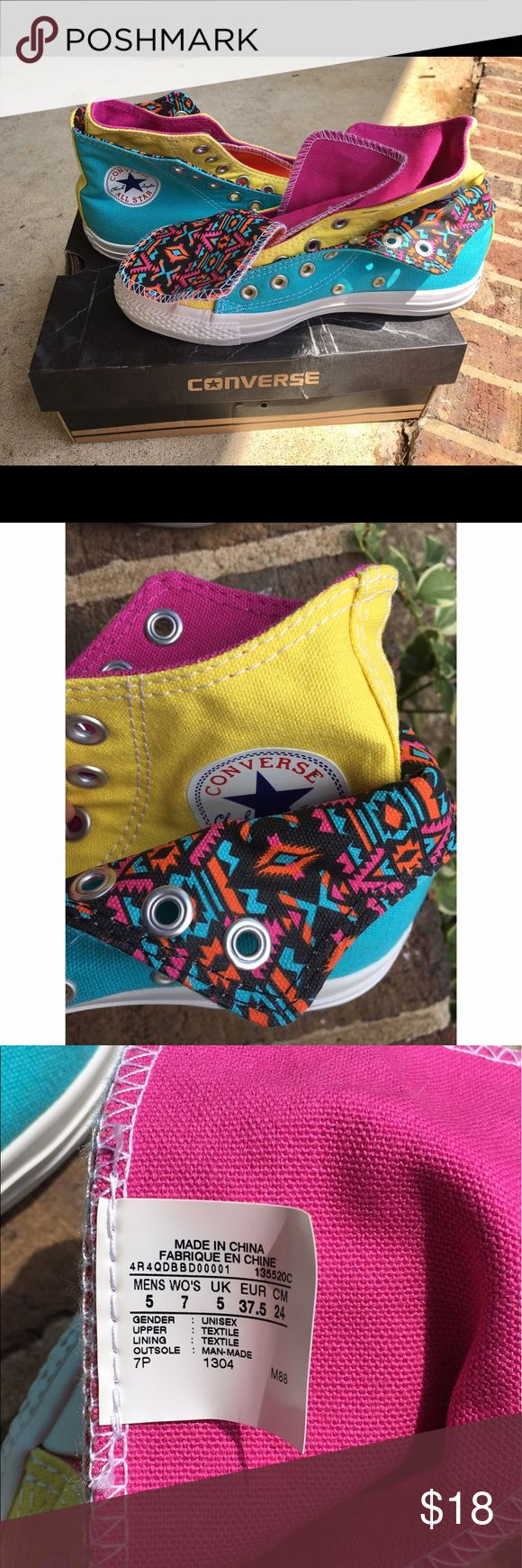 Multicolored Converse Double Tongued Shoes (size7) Never worn. Still in original box. Size 7 Converse Shoes Sneakers