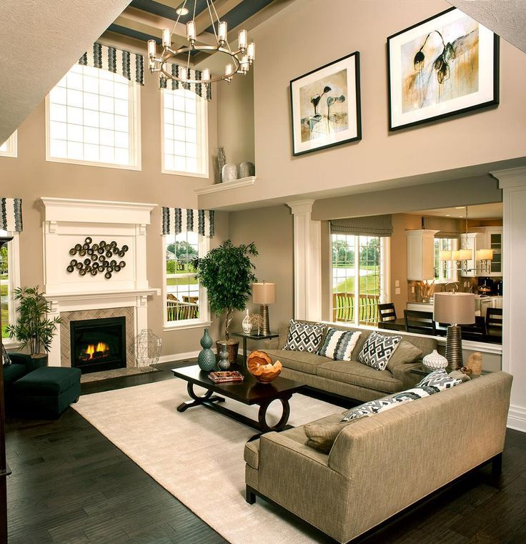 Image Result For Two Story Great Room Paint And Curtain Ideas High Ceiling Living Room Family Room Design Living Room Remodel