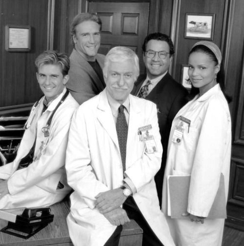 "Charlie Schlatter, Barry Van Dyke, Dick Van Dyke, Michael Tucci and Victoria Rowell in ""Diagnosis: Murder""."