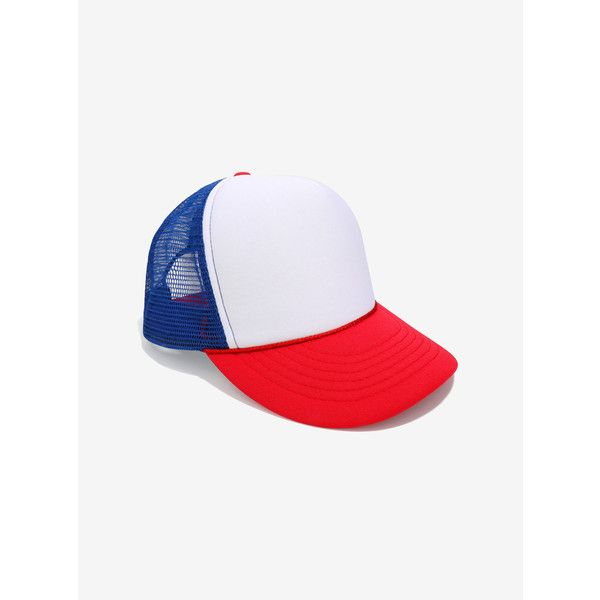 Red White And Blue Trucker Hat ($10) ❤ liked on Polyvore featuring accessories, hats, red white and blue hat, truck caps, trucker hats, blue and white hat and blue and white trucker hat