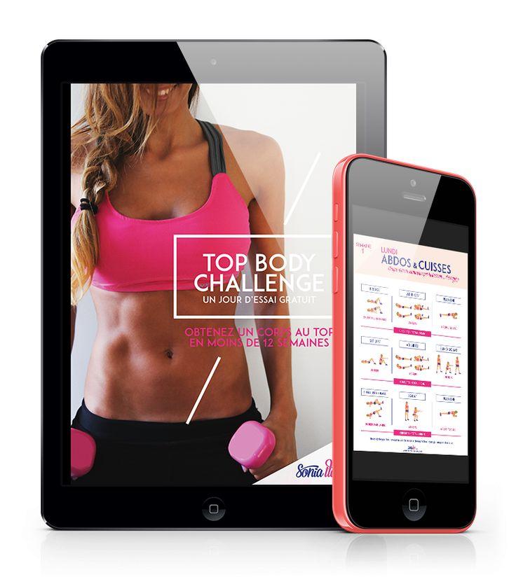 Obtenez un corps au top en moins de 12 semaines. Un jour d'essai gratuit du Top Body Challenge. Sonia Tlev - Fitness - Ebook - Blog - France