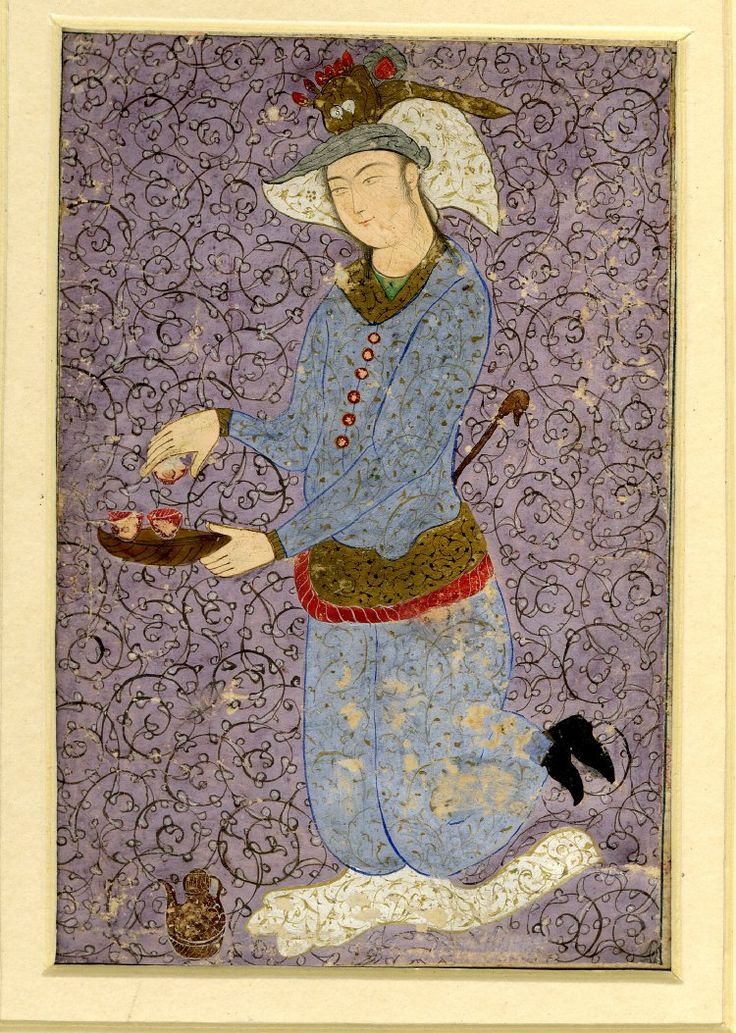 Portrait of a kneeling courtly figure presenting a bowl of fruit to an unseen recipient, attributed to Ottoman, Iranian painting in the 1620s