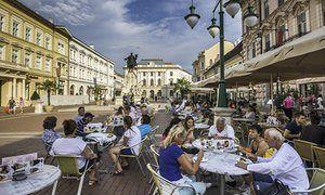 Sidewalk cafe, Szeged, Csongrad County, Hungary