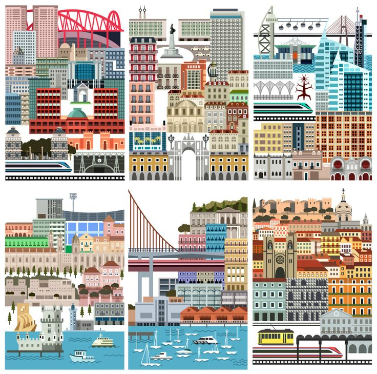 Lisbon illustrated by Tiago Albuquerque for a 'Lisbon at the Table Guide' (Lisboa à Mesa - Guia de Miguel Pires). 2011.