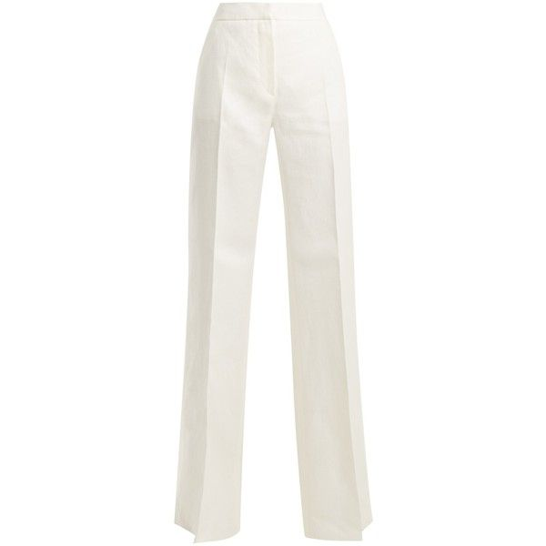 Max Mara Gerry trousers (€430) ❤ liked on Polyvore featuring pants, white, linen pants, maxmara, white linen pants, white wide leg pants and wide leg linen trousers