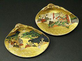 Two Japanese Painted Clam Shells Edo Period Matching shells game kaiawase