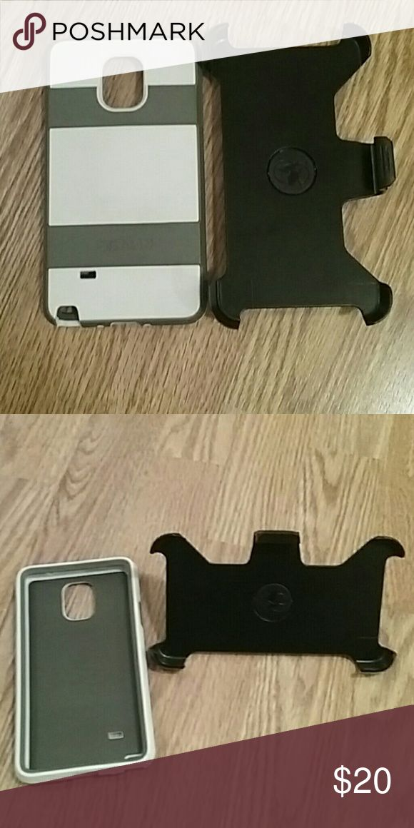 Voyager Pelican galexy note 4 case White and grea case with black belt clip can also change to stand the phone up to watch screen Accessories Phone Cases