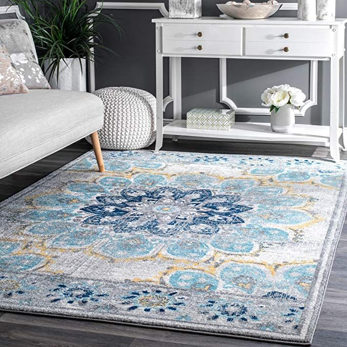 D H 4 X6 Ft Blue White Yellow Floral Multi Colored Mandala Patterned Area Rug Indoor Flower Living Living Room Mats Living Room Design Blue Living Room Carpet