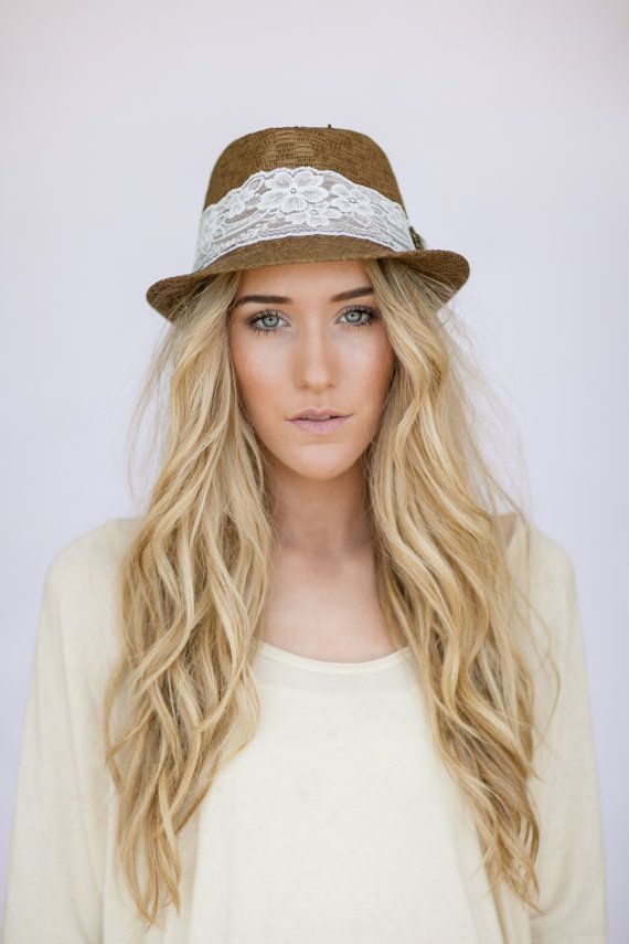 s fedora hat with lace jeweled brown fedora hat with