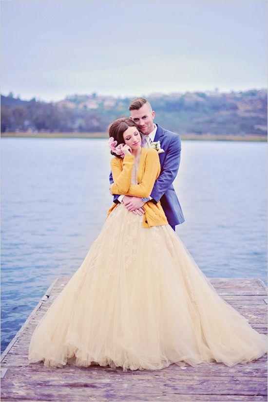 Navy & yellow, unconventional wedding dress, lakeside