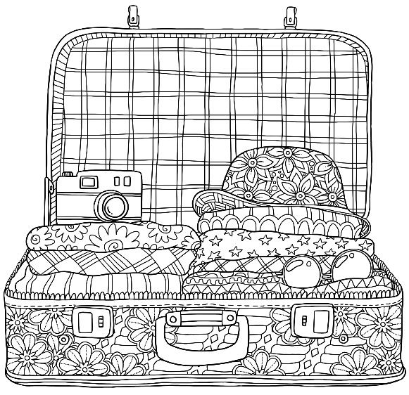 Holiday Suitcase Colouring Page Colormattersapp Dibujos Para