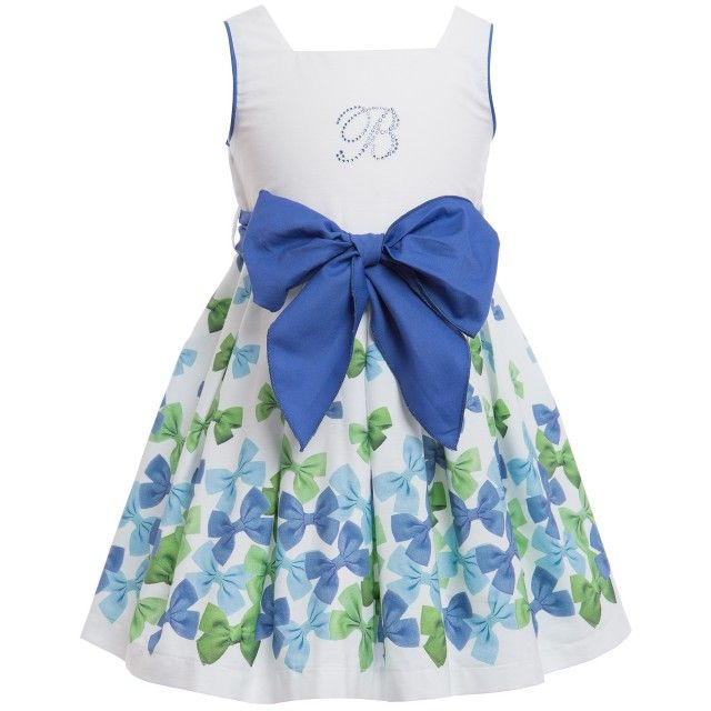 Balloon Chic - Bow Print Cotton Dress with Blue Sash | Childrensalon