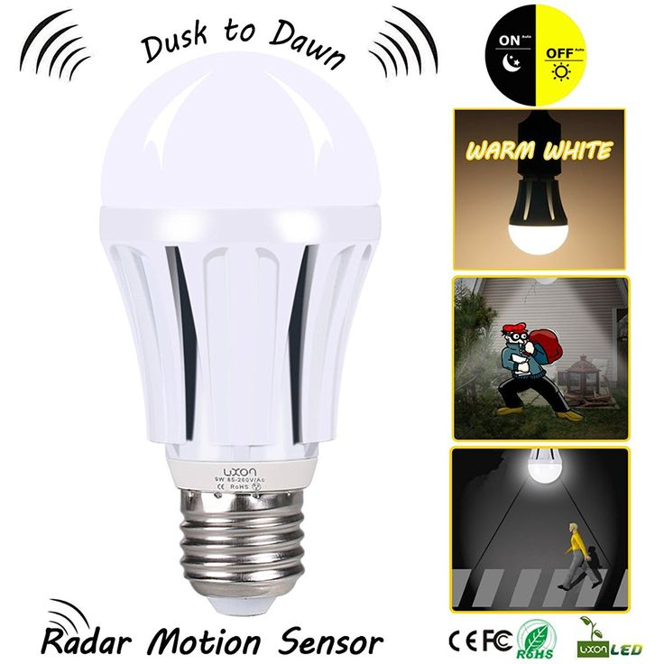Dusk To Dawn Led Motion Sensor Light Bulb 100 Watt Equivalent  9w  A19 E26 Radar Led Sensor