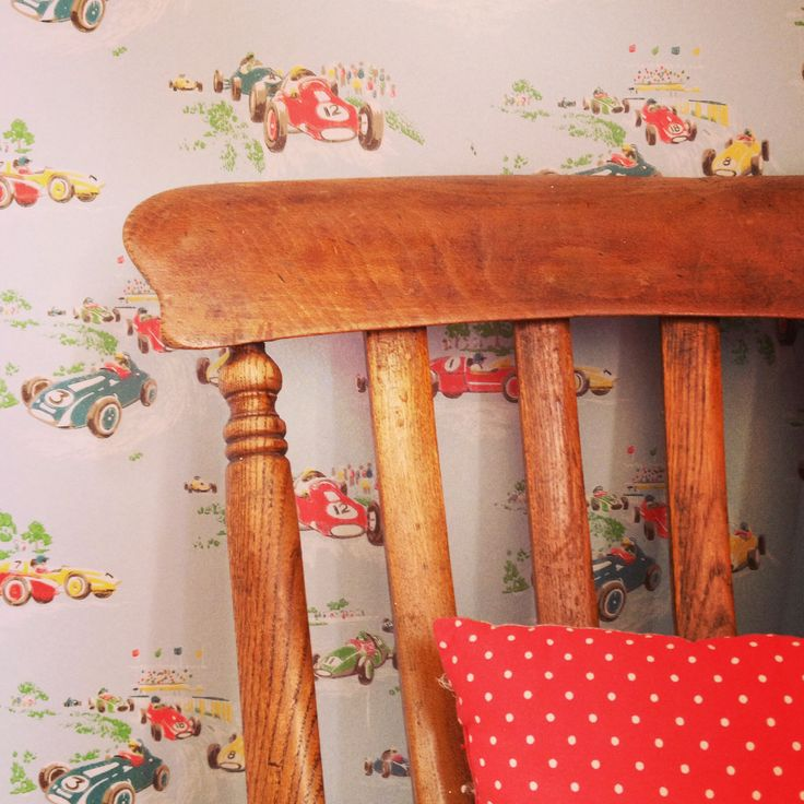 Cath Kidston Vintage Racing Cars Wallpaper Used In My Boys Room With A  Vintage Oak Chair