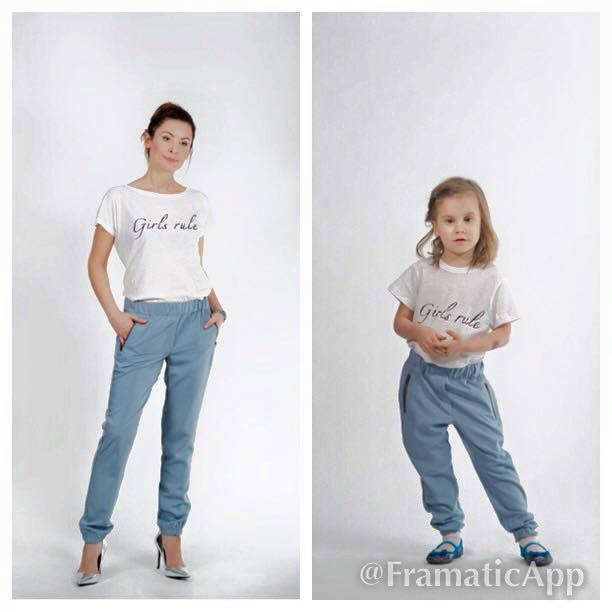 Set of blue and grey trousers for mommy and daughter. Price of set 150 EUR