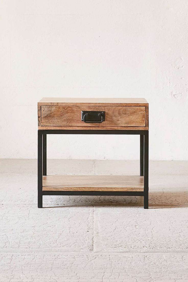 Wood And Metal Bedside Table: Casper Industrial Wooden Nightstand