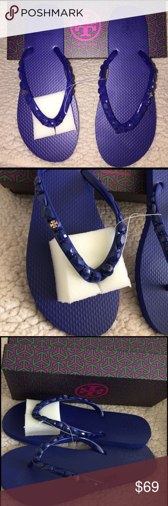 NEW💙 TORY BURCH JEWELED FLIP FLOP ❌NO TRADES❌ Brand new Flip flops from Tory Burch.  ROYAL NAVY color with jewels alongside the straps and signature logo in gold tone.  Size 9 Tory Burch Shoes Sandals