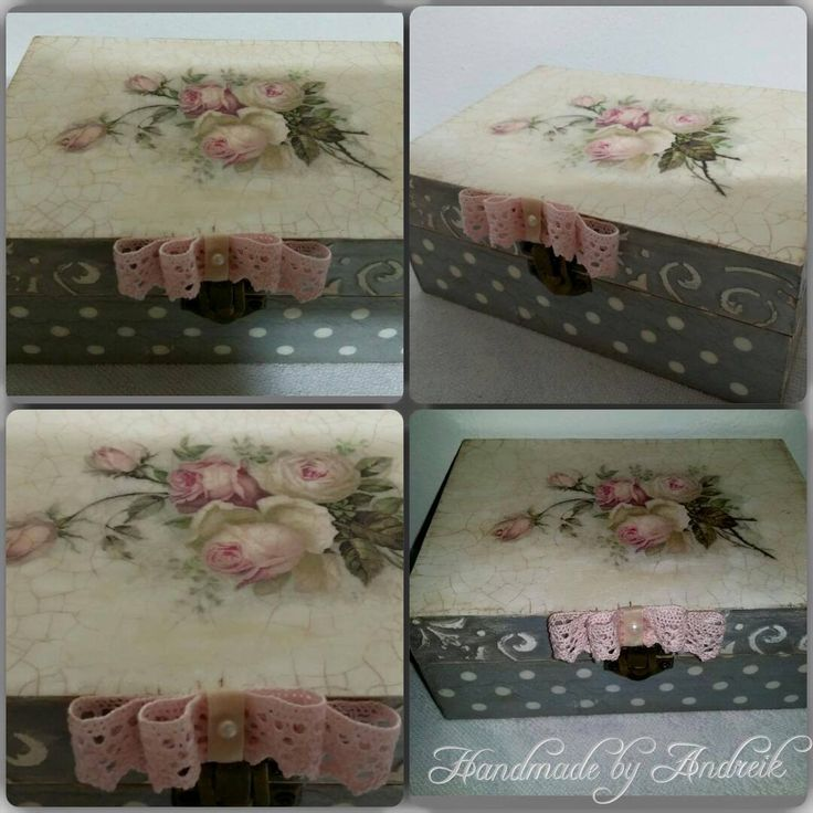 Pink roses decoupage box